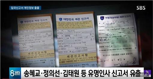 海關申報書,入境卡,個資外洩,宋慧喬 YouTube-SBS 뉴스