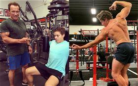 72歲好萊塢巨星阿諾史瓦辛格(Arnold Schwarzenegger)他22歲的兒子約瑟夫(Joseph Baena)。翻攝Joseph Baena IG
