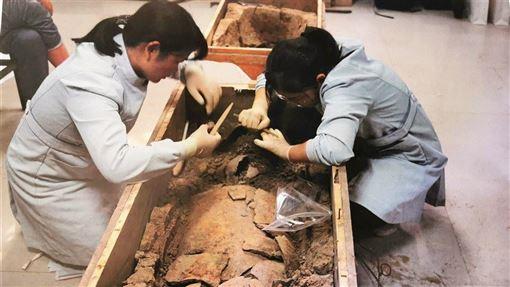 中國絲綢博物館、鄭州市文物考古研究院3日表示,滎陽仰韶文化遺址發現的絲織物,是目前中國發現的最早的絲織品。圖為考古人員從甕棺中提取碳化絲織品。(中新社提供)