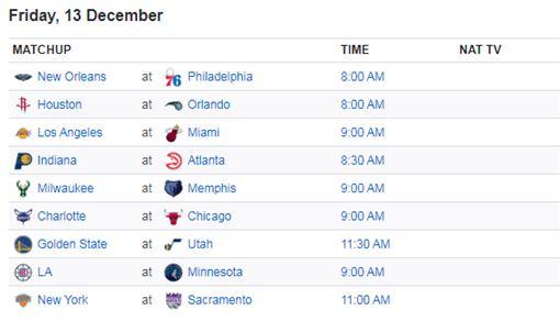 ▲NBA賽程。(圖/取自ESPN網站)