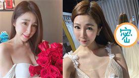 林蓓貝因工作關係試穿透視白紗。(圖/翻攝自林蓓貝臉書)