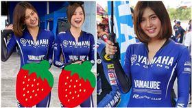 加藤軍路邊隨手拍,有網友分享泰國摩托車錦標賽的正妹,緊身服太透光,小褲褲春光乍現。(圖/翻攝自臉書)