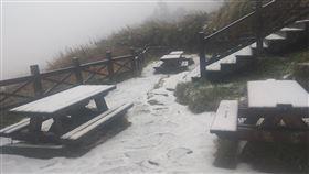 雪山三六九山莊降雪(2)海拔逾3000公尺的雪山三六九山莊6日降下皚皚白雪,戶外桌椅被白雪覆蓋。(布農卡里布灣高山協作提供)中央社記者魯鋼駿傳真 108年12月6日