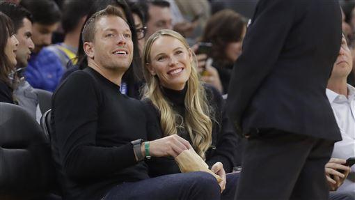 ▲『丹麥甜心』瓦芝妮雅琪(Caroline Wozniacki)和老公前NBA球星大衛李(David Lee)。(圖/美聯社/達志影像)