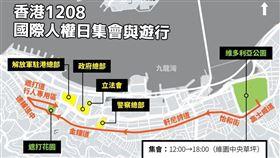香港民陣8日號召民眾上街,將於下午3時從維園出發,這場遊行是民陣自7月21日所申請的遊行以來,再度獲警方發出不反對通知書,有望重演百萬人上街。(中央社製圖)