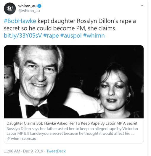 澳洲前總理霍克(Bob Hawke)女兒迪隆(Rosslyn Dillon)遭同黨議員蘭德里歐(Bill Landeryou)性侵(圖/翻攝自whimn_au推特)
