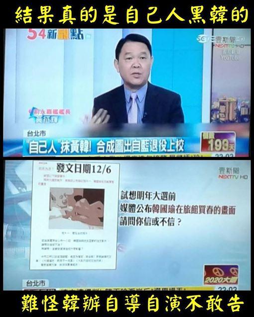 ▲粉專揭露韓國瑜情色照的自製者,真的是「藍營自己人」(圖/翻攝只是堵藍粉專)