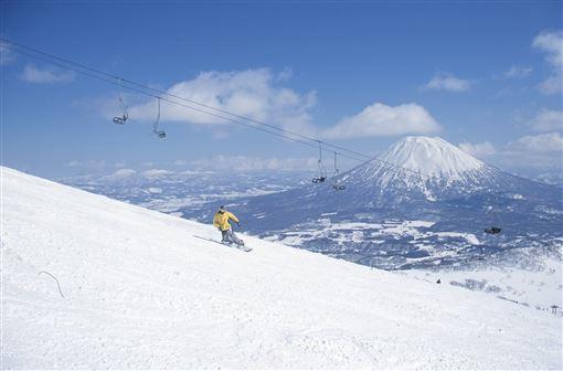 ▲邊滑雪邊賞羊蹄山風光(圖/日本國家旅遊局)
