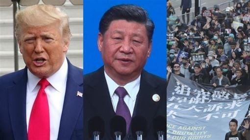 時代雜誌2019年風雲人物將於11日揭曉,根據10日揭露的決選名單,入圍者包括美國總統川普(左)、中國國家主席習近平(中)和反送中香港示威者(右)等。