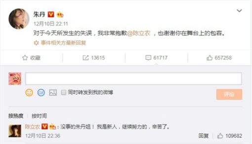 朱丹公開道歉陳立農,陳立農高EQ回應被讚爆。(圖/翻攝自朱丹微博)
