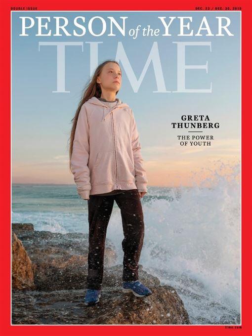 「時代」雜誌11日公布2019年風雲人物,瑞典環保少女童貝里獲選。(圖取自twitter.com/TIME)