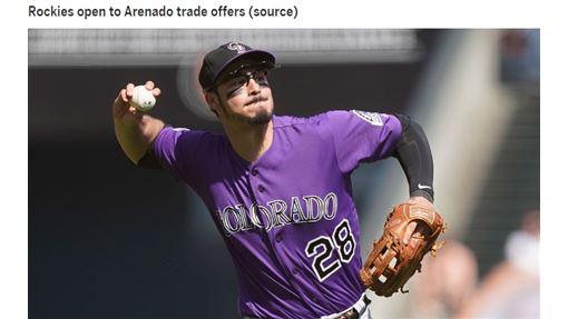 ▲洛磯把三壘手亞瑞納多(Nolan Arenado)放上談判桌。(圖/翻攝自MLB官網)