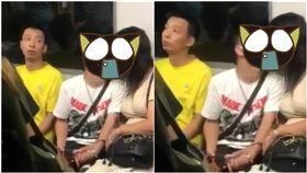 香港地鐵「情侶忘我喇舌」,旁邊小哥無奈感嘆笑翻網友。(圖/翻攝自臉書)