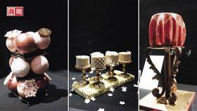 尼可拉.帕契羅(Nicolas Paciello)主廚,為慶祝120週年的富凱餐廳(Le Fouquet's)創作充滿神秘氣息的耶誕蛋糕。圖中為「瑪麗安東妮的耶誕」,左圖為「耶誕之珠」。(攝影者:商周陳穎(Ying C.))