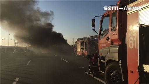 國道3號北上彰化路段發生火燒車意外(翻攝畫面)