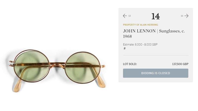 約翰藍儂太陽眼鏡 555萬元成交