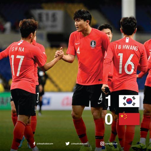 ▲南韓以1:0擊敗中國。(圖/取自東亞足協推特)