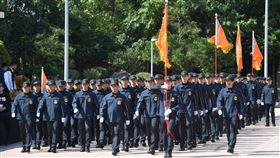 總統大選維安特勤人員結訓第15任總統、副總統選舉候選人維安人員7日在台北國安局特勤中心舉行結訓編成典禮,圖為結訓人員部隊進入典禮現場。中央社記者王飛華攝  108年11月7日