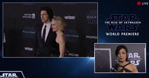 美國洛杉磯也舉辦了《STAR WARS:天行者的崛起》世界首映會,現場聚集了所有曾出演過的角色,讓粉絲尖叫聲連連。官方YT影片截圖