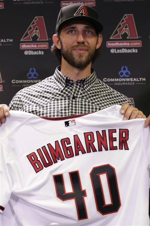 ▲Madison Bumgarner穿上亞利桑那響尾蛇40號球衣。(圖/美聯社/達志影像)