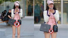 街上,滑手機,夢幻,粉色,緊身,短褲,駱駝蹄