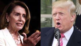 美國國會眾議院議長裴洛西(左)18日指出,總統川普(右)行事不顧後果,導致民主黨國會議員別無選擇,必須推動彈劾他。(中央社)