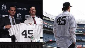 ▲柯爾(Gerrit Cole)加盟洋基穿著45號球衣。(圖/翻攝自洋基推特)