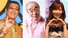 日本東京奧運2020年正式登場前,將先舉行聖火傳遞,包括藝人Piko太郎(左)、志村健(中)、指原莉乃(右)等都擔任跑者。(中央社)