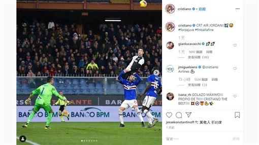 ▲C羅(Cristiano Ronaldo)在IG分享頭槌進球照片。(圖/翻攝自C羅IG)