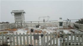 中央氣象局,水氣充足,氣溫低,玉山,降雪,氣象(圖/氣象局提供)中央社
