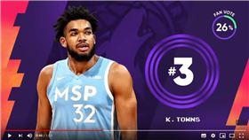 ▲唐斯(Karl-Anthony Towns)上籃麵包,糗登《俠客真烏龍》。(圖/翻攝自NBA on TNT)