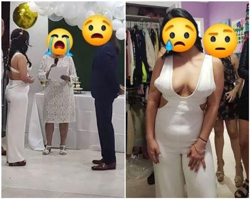 新娘穿露背深V裝!雪乳炸出「一大片肉色」 網看照全驚呆(翻攝自臉書)