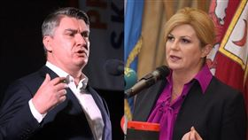 克羅埃西亞總統大選首輪投票一份出口民調顯示,前總理米蘭諾維奇(左)取得29.6%選票,領先現任總統季塔洛維奇(右)的26.4%,兩人可望在2020年1月5日第二輪投票決勝負。(左圖取自facebook.com/ZoranMilanovic,右圖取自facebook.com/KolindaGrabarKitarovic)