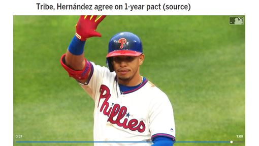 ▲印地安人1年625萬簽下赫南德茲(Cesar Hernandez)。(圖/翻攝自MLB官網)