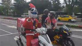 外送員,熊貓,聖誕老公公,騎車,送餐