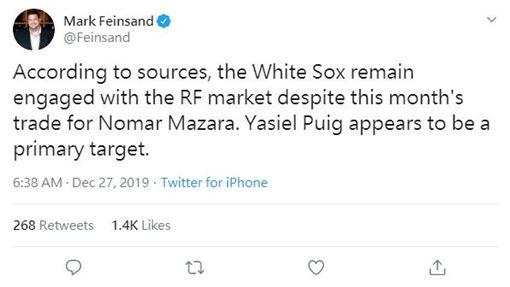 ▲白襪傳出想簽下普伊格(Yasiel Puig)。(圖/翻攝自推特)