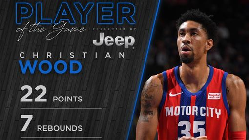 ▲伍德(Christian Wood)替補上場攻下全隊最高22分。(圖/翻攝自活塞推特)