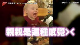 ▲年紀還小的弟弟終於了解親親是什麼感覺!(圖/AP /Jukin Media授權)
