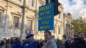 挺留歐民眾高舉標語英國國會19日表決脫歐協議,留歐派民眾號召遊行,標語指出,脫歐已經不是2019年的民眾意願。中央社記者戴雅真倫敦攝 108年10月20日