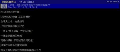 韓粉,扁粉,韓國瑜,陳水扁,比較,PTT 圖/翻攝自PTT