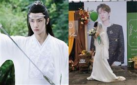 男粉絲為王一搏穿婚紗