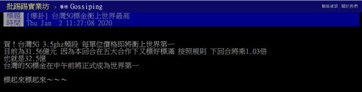 5G,網路,唱衰,台灣,價格,吃到飽,PTT 圖/翻攝自PTT