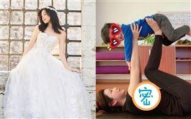 陳妍希抱3歲兒子小星星做瑜珈。微博