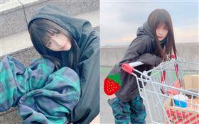 日本女明星景井 ひな分享了穿著超長的迷彩格子花樣靴子,乍看之下超像是迷彩長褲被人脫一半的模樣。推特