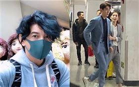 劉詩詩、朱一龍拍新戲/上海火車站。翻攝新浪娛樂微博