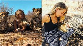 南非21歲女子,每天都和印度豹生活,晚上更和他們抱在一起睡覺。(圖/翻攝自IG)