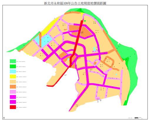 (圖/取自新北市中和區109年公告土地現值地價級距圖)
