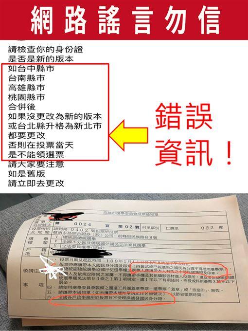 網傳「持縣市改制前舊式身分證,不得領取選舉票」(圖/中選會提供)