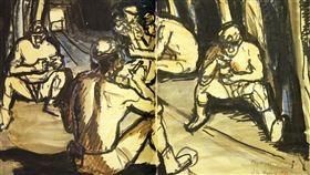 礦工畫家洪瑞麟文物作品將捐贈文化部已故畫家洪瑞麟以粗獷筆觸描繪礦工聞名,是台灣藝術史上極具代表性的畫家,洪瑞麟的長子洪鈞雄決定將父親畫作及手稿等逾2500筆文物捐贈給文化部。圖為洪瑞麟1956年所繪的礦工素描。(文化部提供)中央社記者洪健倫傳真 109年1月7日
