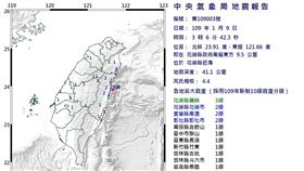 花蓮凌晨3:06發生地震 芮氏規模4.4